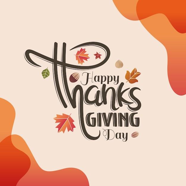 Lettrage à la main bonne fête de thanksgiving Vecteur Premium