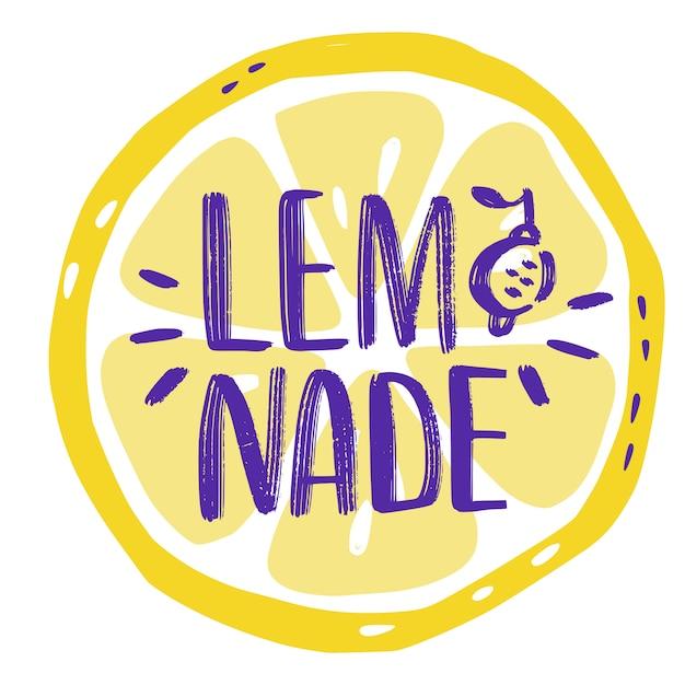 Lettrage à la main des inscriptions sur limonade avec une tranche de citron. autocollant Vecteur Premium