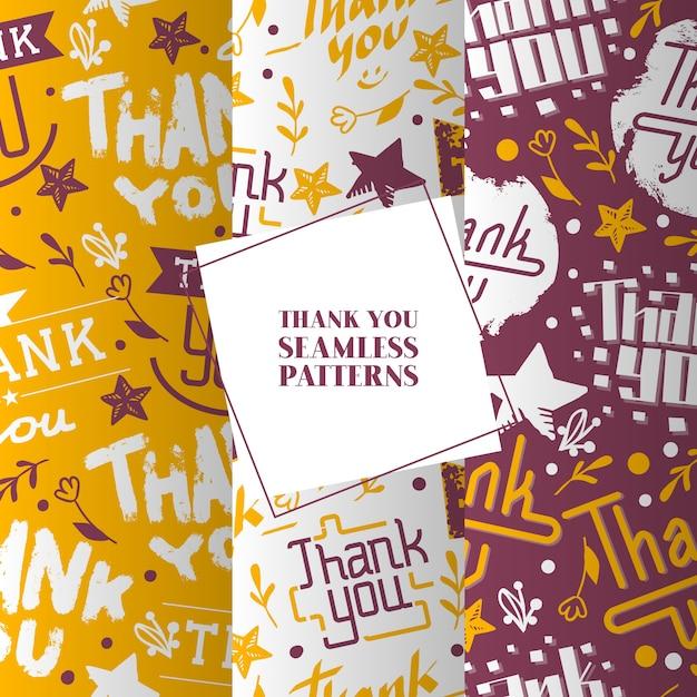 Lettrage merci ensemble de modèles sans soudure. mots de texte belle calligraphie avec fleurs colorées, sourires, étoiles. Vecteur Premium