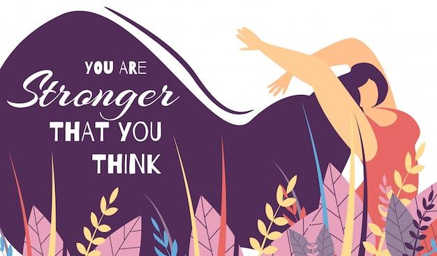 Lettrage de motivation banner woman power strength Vecteur Premium