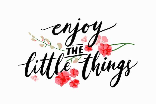 Lettrage Positif Avec Des Fleurs Vecteur gratuit