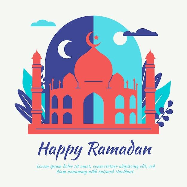 Lettrage De Ramadan Heureux Avec Mosquée Vecteur gratuit