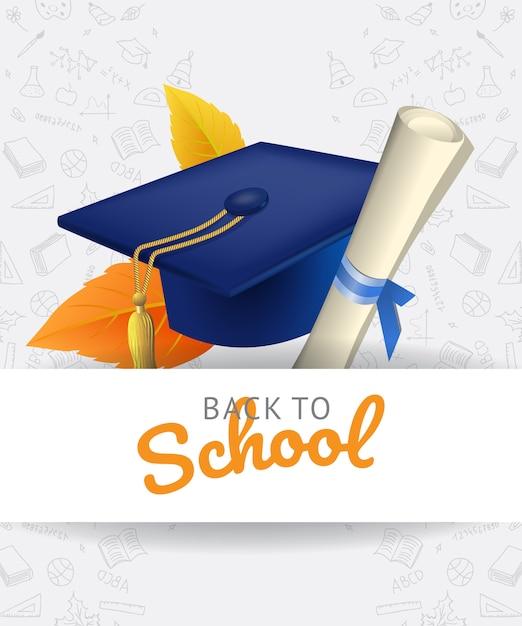 Lettrage de rentrée scolaire avec cap de graduation et griffonnages Vecteur gratuit