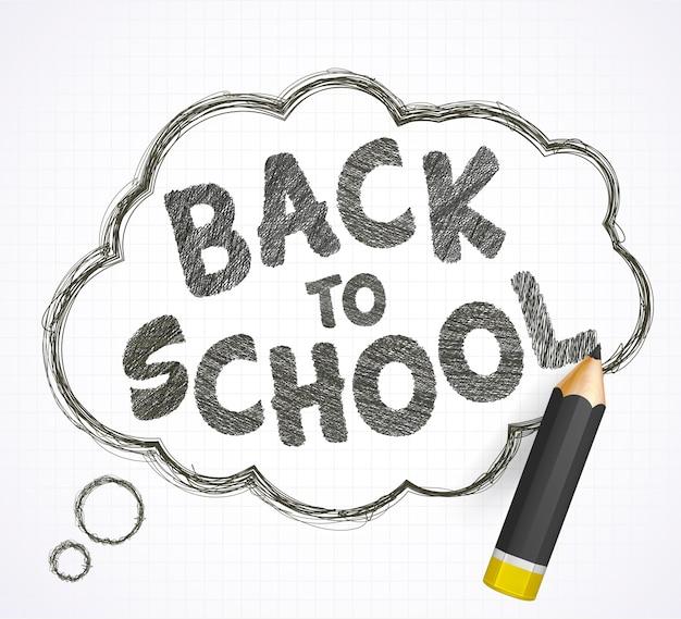 Lettrage de retour à l'école, bulle et crayon noir réaliste Vecteur Premium