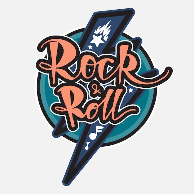 Lettrage rock and roll Vecteur Premium