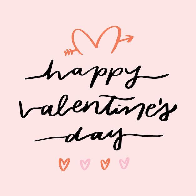 Lettrage De La Saint-valentin Sur Fond Rose Vecteur gratuit