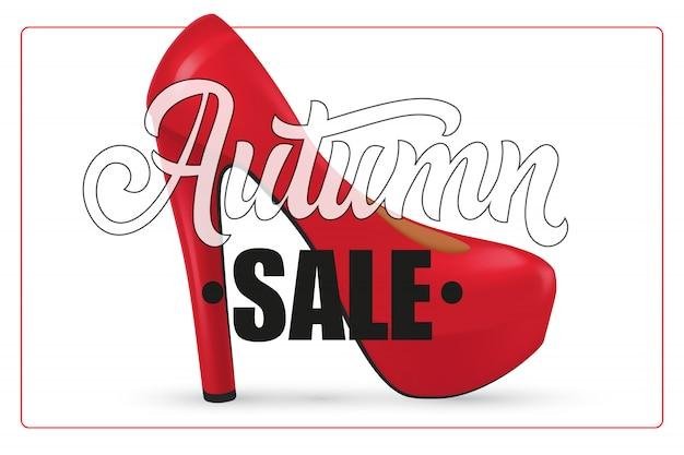 Lettrage de vente d'automne dans le cadre avec la chaussure à talon haut femme Vecteur gratuit