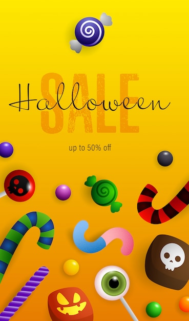 Lettrage de vente d'halloween, citrouilles, chauves-souris et potion au chaudron Vecteur gratuit