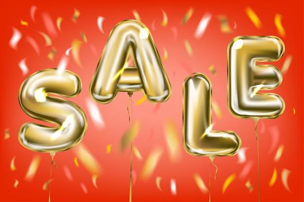 Lettrage de vente par des ballons en feuille métallique dans l'air rouge Vecteur Premium