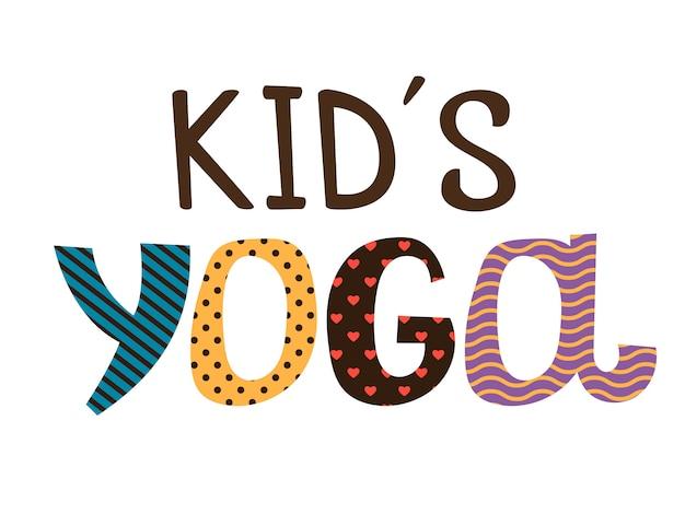 Lettrage yoga enfants Vecteur Premium