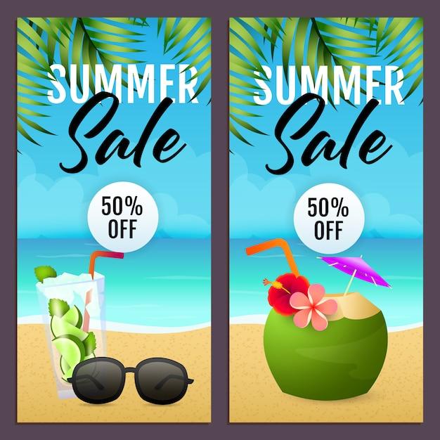 Lettrages de vente d'été, cocktail de noix de coco, lunettes de soleil, plage Vecteur gratuit