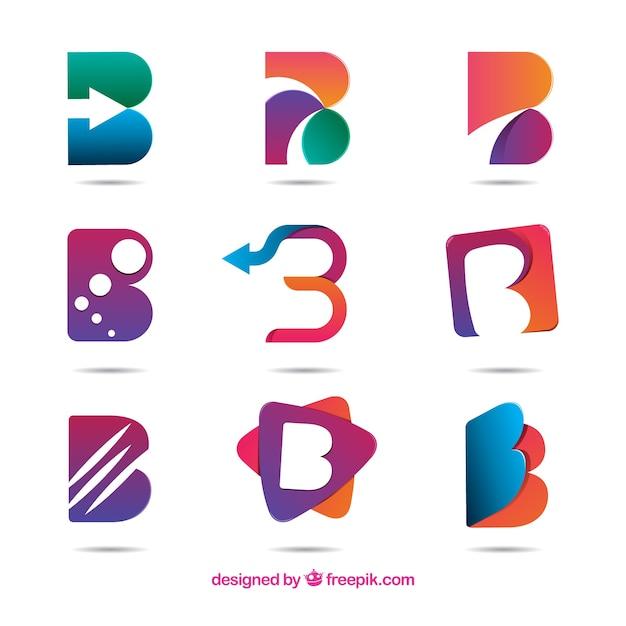 Lettre abstraite b logo collecti Vecteur gratuit