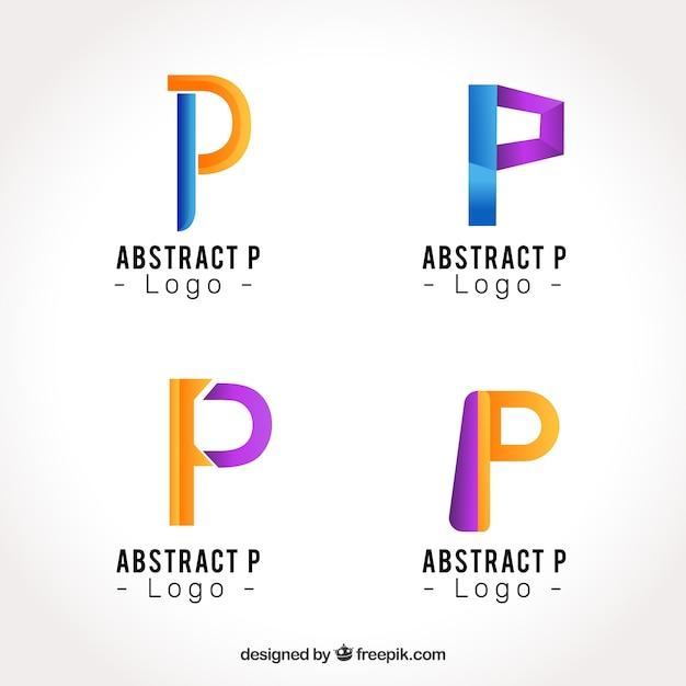 Lettre abstraite p logo collectio Vecteur gratuit