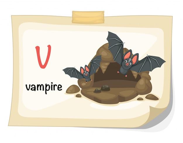 Lettre de l'alphabet animal v pour vecteur d'illustration vampire Vecteur Premium