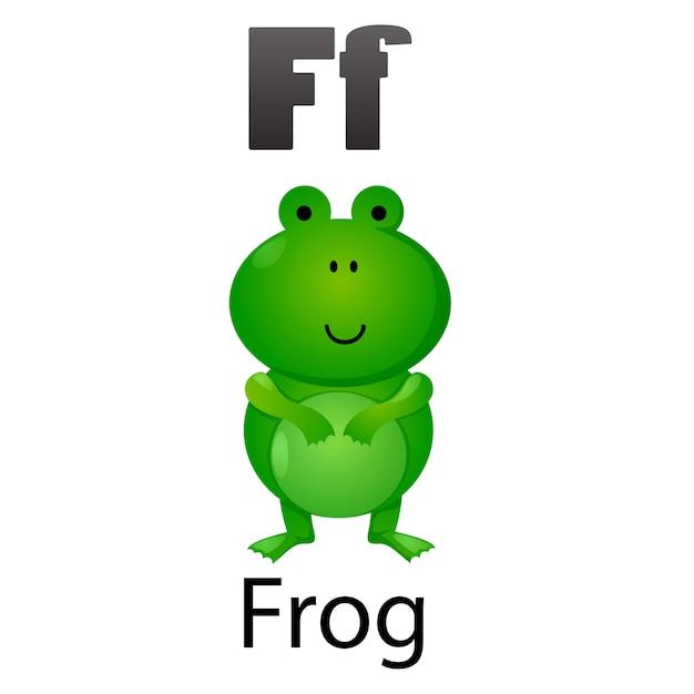 Lettre alphabet f-frog Vecteur Premium
