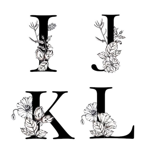 Lettre alphabet à fleurs aquarelle noir et blanc ijkl Vecteur Premium