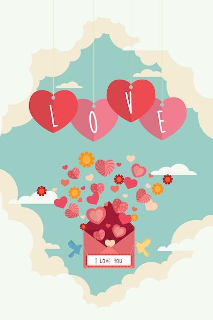Lettre d'amour saint valentin et coeurs battant sur l'arrière-plan de conception de ciel Vecteur Premium