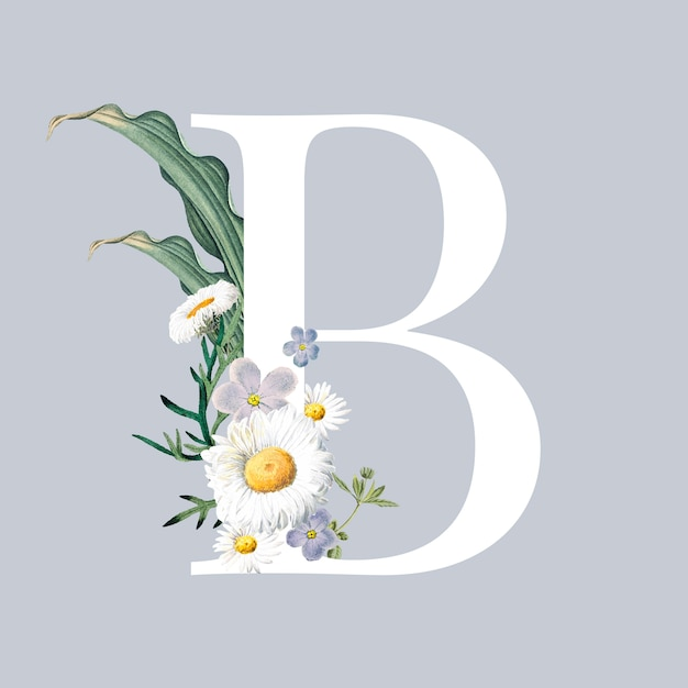 Lettre b avec des fleurs Vecteur gratuit