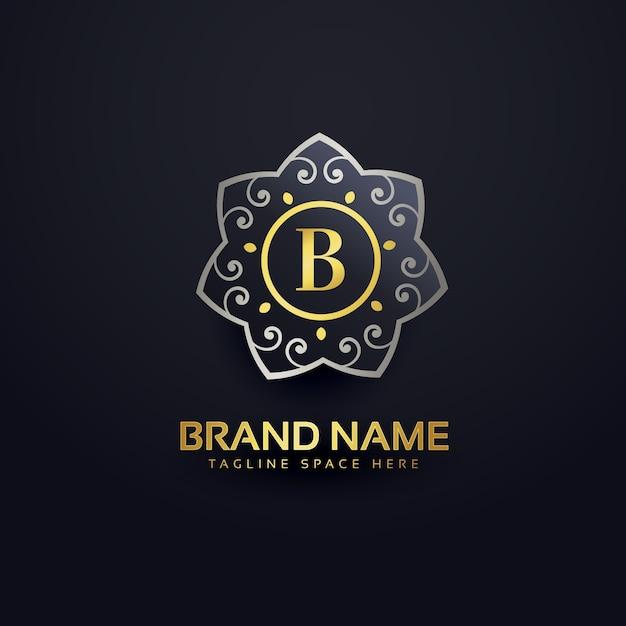 Lettre b logo avec un élément floral Vecteur gratuit