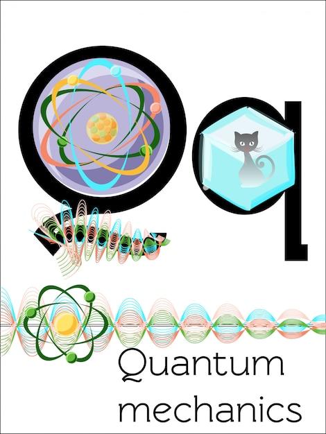 La lettre de la carte flash q est destinée à la mécanique quantique. Vecteur Premium