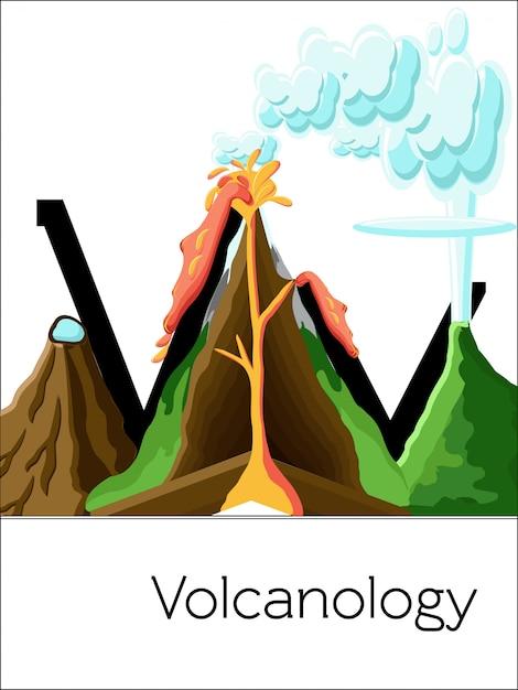 La lettre de carte flash v est pour la volcanologie Vecteur Premium