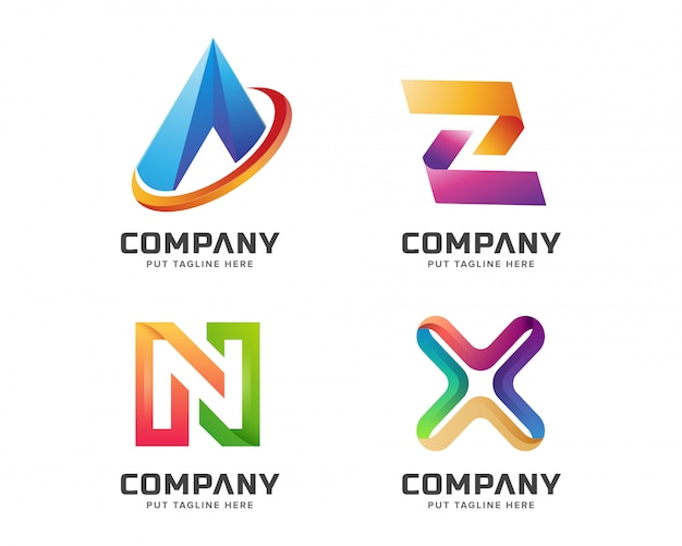 Lettre Colorée Initiale Une Collection De Logo Vecteur Premium