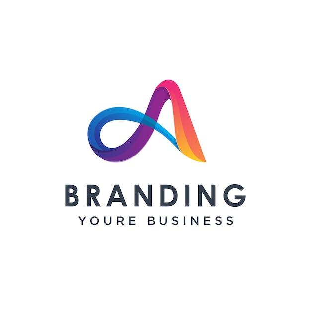 Lettre Colorée Moderne Un Modèle De Conception De Logo Vecteur Premium