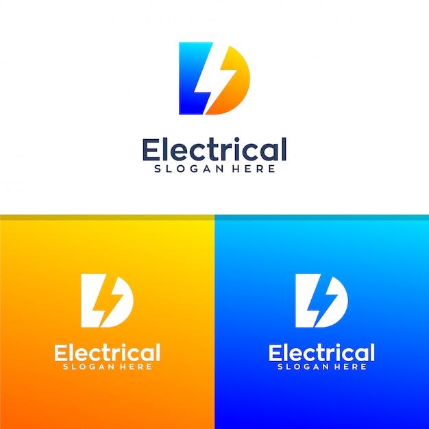 Lettre d conception de logo électrique Vecteur Premium