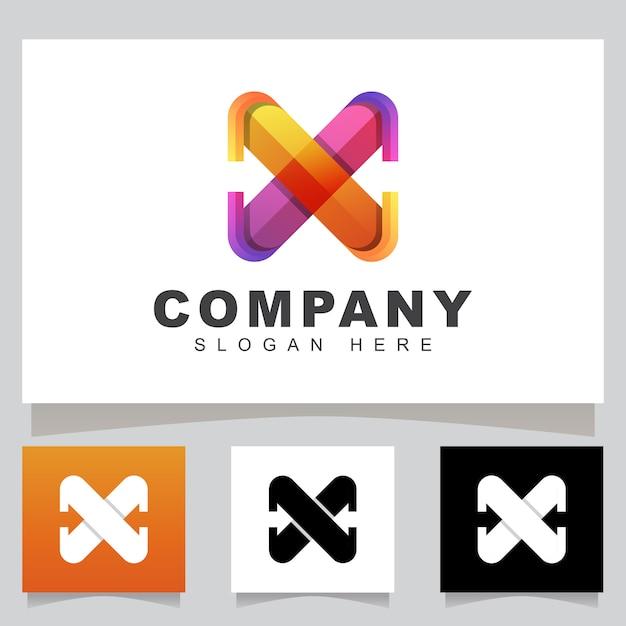 Lettre De Couleur Moderne X Avec Logo D'entreprise Flèche, Modèle De Conception De Logo Logistique Express Initial Vecteur Premium