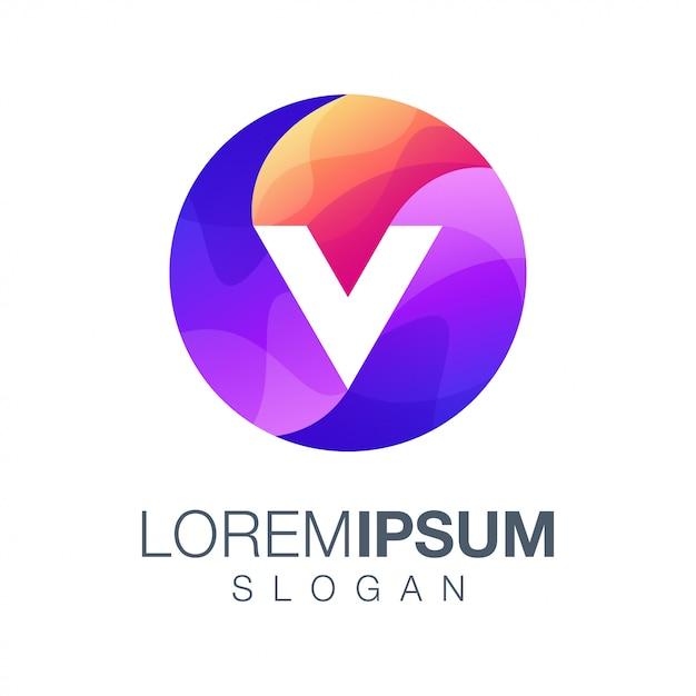 Lettre Couleur V Dégradé Logo Vecteur Premium