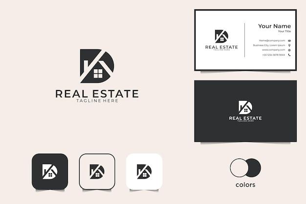Lettre D Avec Création De Logo Immobilier Et Carte De Visite Vecteur Premium
