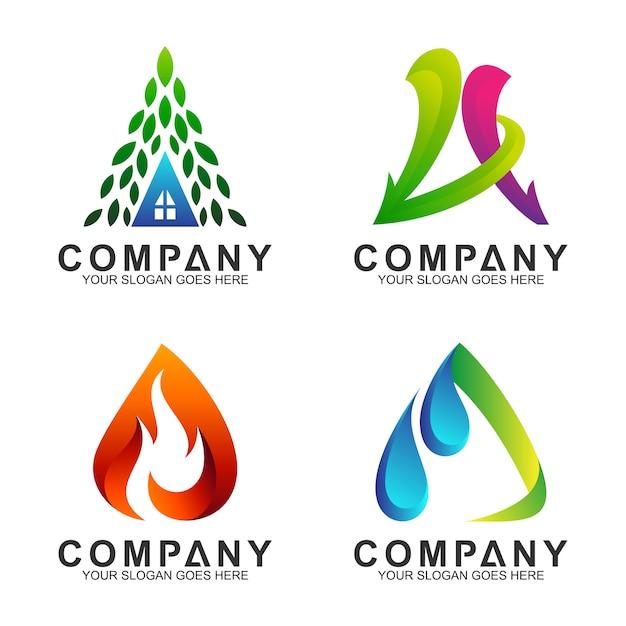 Lettre créative une collection de logo Vecteur Premium