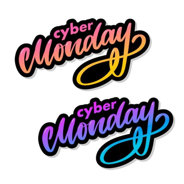 Lettre Du Cyber Lundi. Bannière De Vente Cyber Lundi. Bannière Du Cyber Lundi. Contexte Technologique. Publicité événementielle. Achats De Vacances. Vecteur Premium