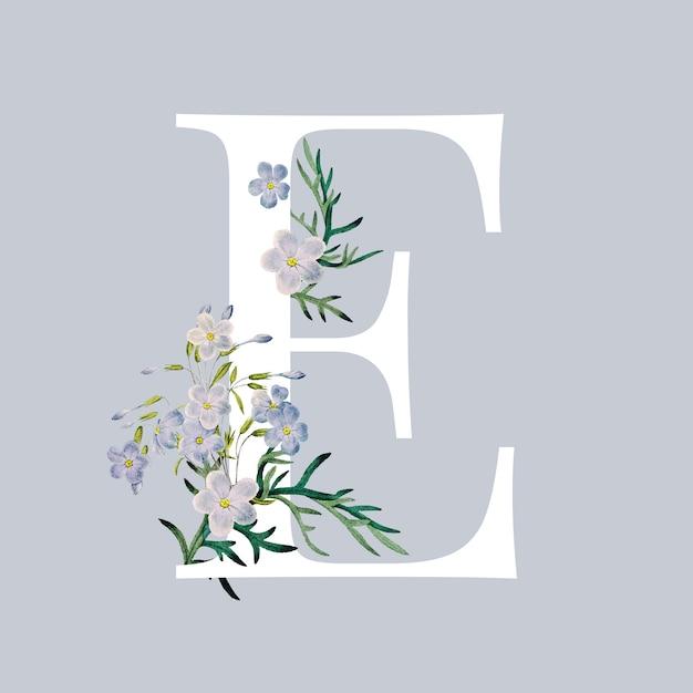Lettre e avec des fleurs Vecteur gratuit
