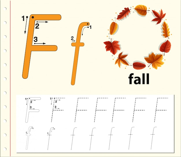 Lettre f traçant les feuilles de l'alphabet Vecteur Premium