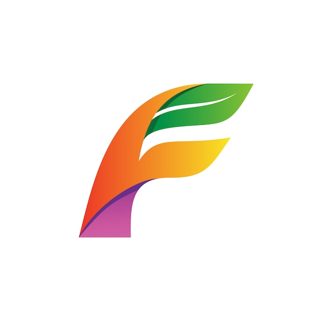 Lettre f et vecteur logo feuille Vecteur Premium