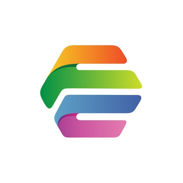 Lettre f et c en vecteur logo hexagonal Vecteur Premium