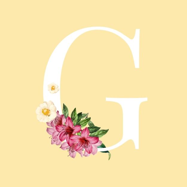 Lettre g blanche décorée avec vecteur de fleurs dessinées à la main mamans Vecteur gratuit