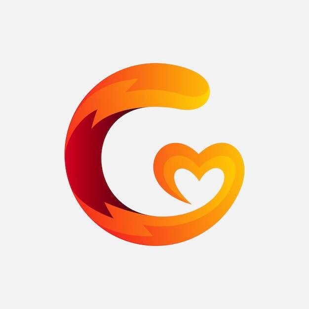 Lettre g avec création de logo d'amour Vecteur Premium