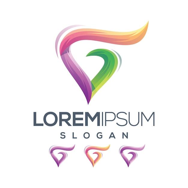 Lettre g love logo gradient collection Vecteur Premium