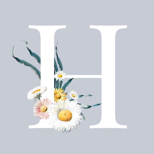 Lettre h avec des fleurs Vecteur gratuit