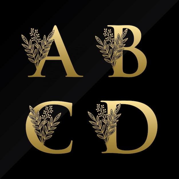 Lettre initiale abcd logo avec fleur simple de couleur or Vecteur Premium