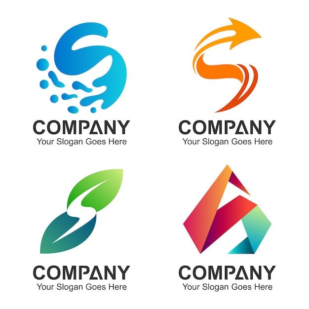 Lettre initiale collection s logo design Vecteur Premium