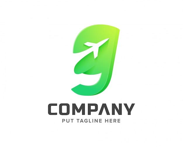 Lettre initiale g avec gabarit de logo en forme d'avion Vecteur Premium