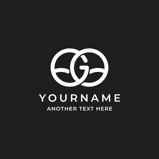 Lettre Initiale Go Simple Avec Création De Logo De Feuille Vecteur Premium
