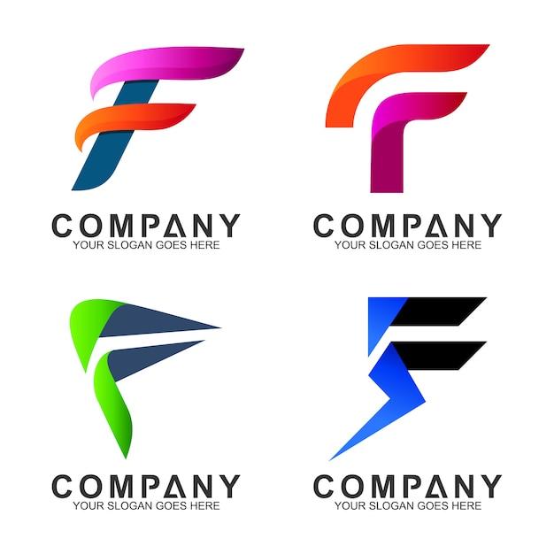 Lettre initiale logo f Vecteur Premium