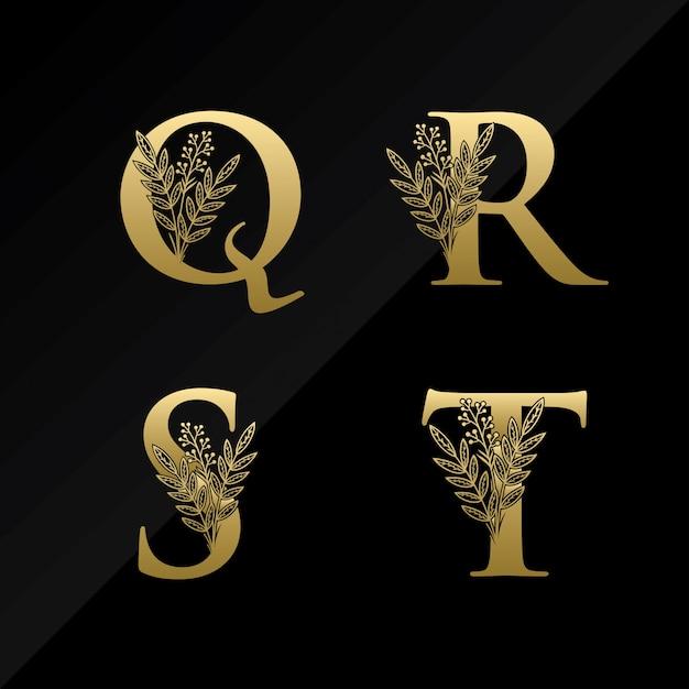 Lettre initiale qrst logo avec fleur simple de couleur or Vecteur Premium