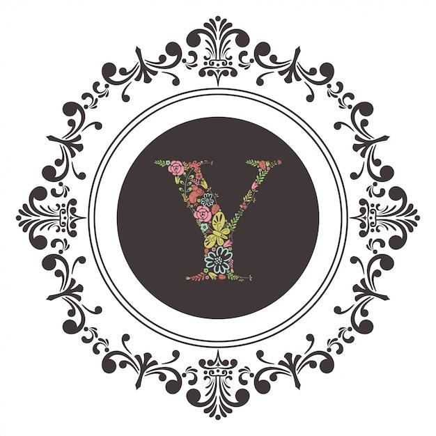 Lettre A Initiale Avec Vecteur Floral Vecteur Premium