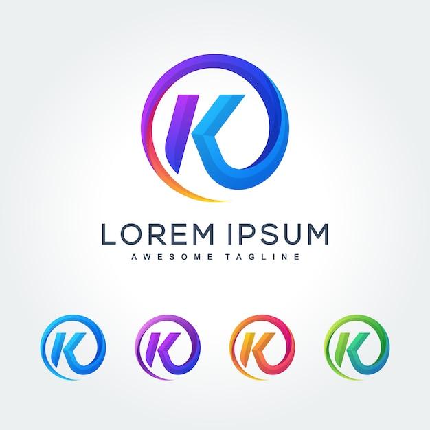 Lettre K Coloré Icône De Design Art Abstrait Moderne Ondulé Vecteur Premium