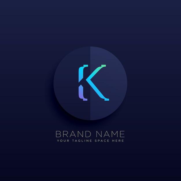Lettre k style logo sombre Vecteur gratuit
